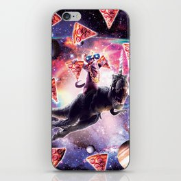 Thug Space Cat On Dinosaur Unicorn - Pizza iPhone Skin
