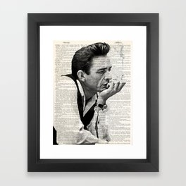 Johnny Cash smoking a cigarette over Vintage Dictionary Page Framed Art Print