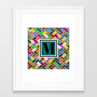 monogram Framed Art Prints featuring M Monogram by mailboxdisco