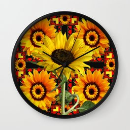SOUTHWESTERN  BLACK COLOR YELLOW SUNFLOWERS ART Wall Clock