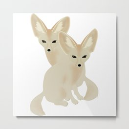Fennec Foxes Metal Print