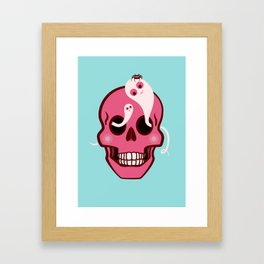 Cute Skull With Spider And Ghosts In Eye Sockets Framed Art Print