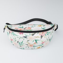 Watercolor Flower Pattern Peach White Pink Fanny Pack