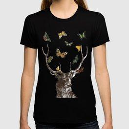 The Stag and Butterflies | Deer and Butterflies | Vintage Stag | Vintage Deer | Antlers | Woodland | T-shirt