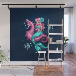 Mysterious Mermaid on Deep Blue Wall Mural
