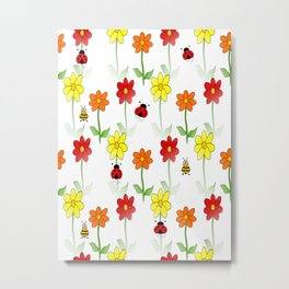Bees Lady Bugs And Nature Metal Print