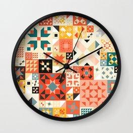 Modern Quilt Pattern Wall Clock