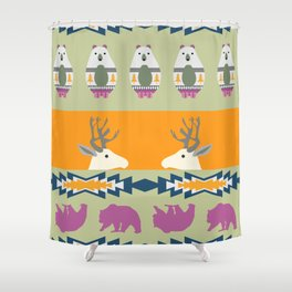 Colorful Christmas pattern with deer and bears Shower Curtain