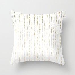 NYC Nights Gold Polka Dot Stripes Throw Pillow