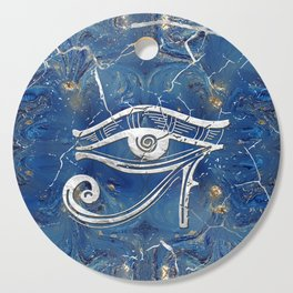 Silver Egyptian Eye of Horus  on blue marble Cutting Board