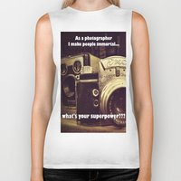 cameras Biker Tanks featuring Vintage cameras by Fairies and Rock