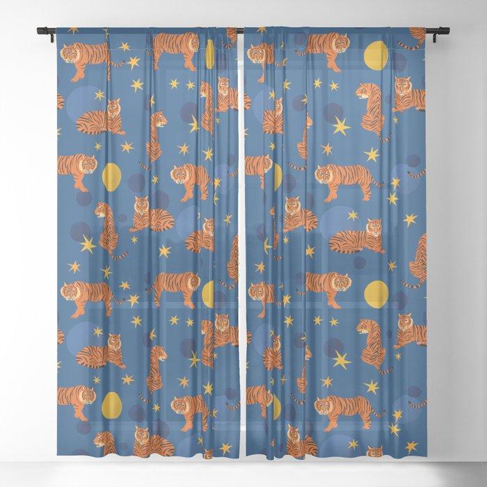 Cosmic Tigers Sheer Curtain