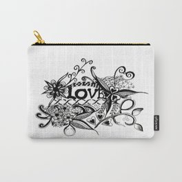 "Ink and pen drawing, Black and White art, ""LOVE"" Carry-All Pouch"