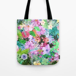 exotic flowers pattern Tote Bag
