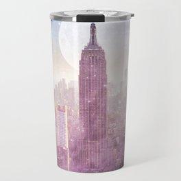 I LOVE PINK NEW YORK CITY SKYLINE - Full Moon Universe Travel Mug