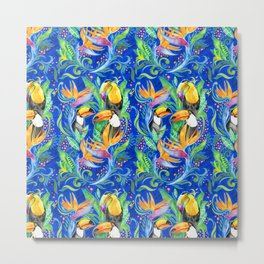 Tropical Toucans - Indigo Blue  Metal Print