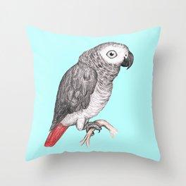 Cute African grey parrot Throw Pillow