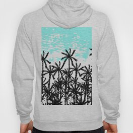 Modern tropical black white teal palm tree pattern Hoody