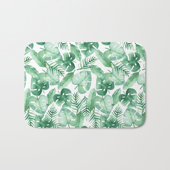 Tropical Jungle on White Bath Mat