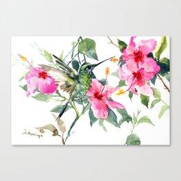 Hibiscus and Hummingbird, Hawaiian Aloha, birds and flowers design Canvas Print