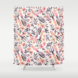 Spring Gardening - peach blossoms on cream Shower Curtain