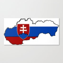 Slovakia Map with Slovakian Flag Canvas Print