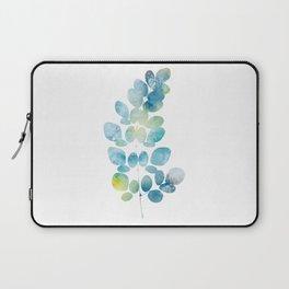 Blue Watercolor Leaves Laptop Sleeve
