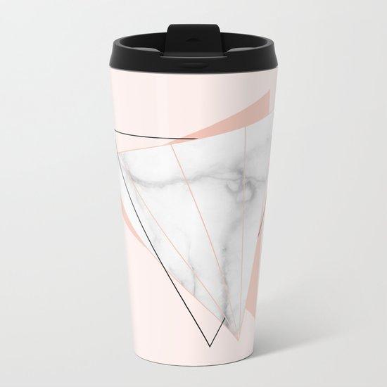 White Marble Geometric Triangle Shapes Salmon Pink Metal Travel Mug