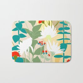 Illustration, modern flowers, bold colors,red, turquoise, white,green. Bath Mat