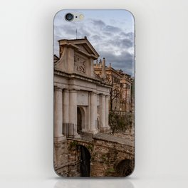 Side view of Porta San Giacomo and the walls of the upper city of Bergamo iPhone Skin