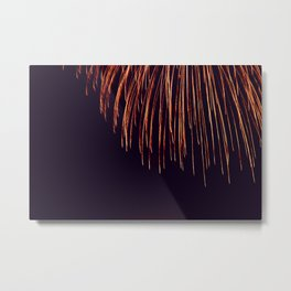 Beautiful Red and Orange Fireworks falling down in the sky! Metal Print