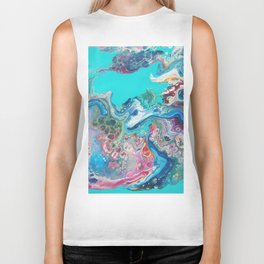 Fluid Nature - Rainbow Sea Dragon - Abstract Acrylic Pour Art Biker Tank