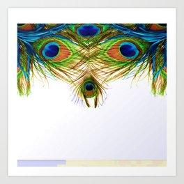 GORGEOUS BLUE-GREEN PEACOCK FEATHERS ART Art Print