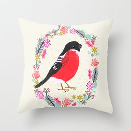 Bullfinch by Andrea Lauren  Throw Pillow
