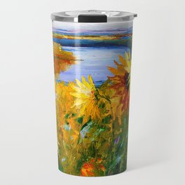 Sunflowers by the river Travel Mug
