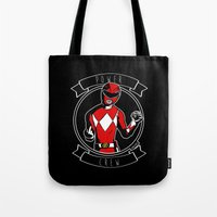power ranger Tote Bags featuring Power Crew Red Ranger by zombieCraig by zombieCraig