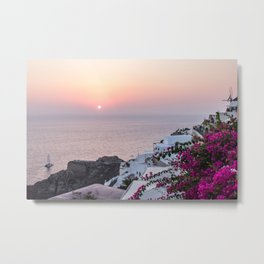 Santorini Sunsets Metal Print