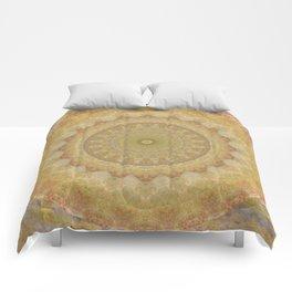Topaz Gold Sun Marble Mandala Comforters