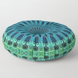 Mandala with green and light blue ornaments Floor Pillow