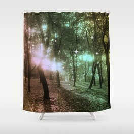 Forest by dawn in green, yellow and fuchsia light Shower Curtain