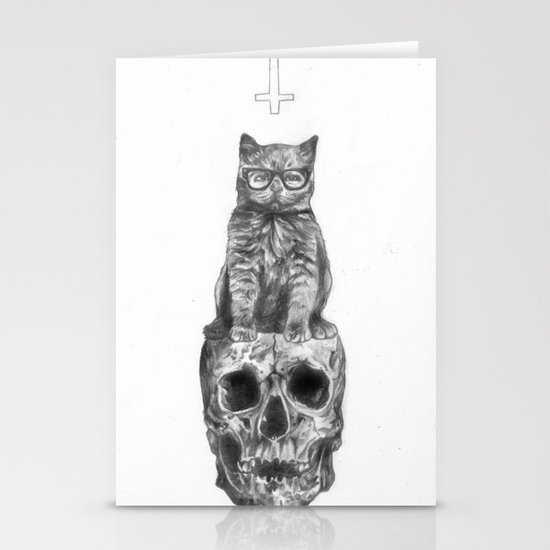 The Cat, The Skull, The Cross Stationery Cards
