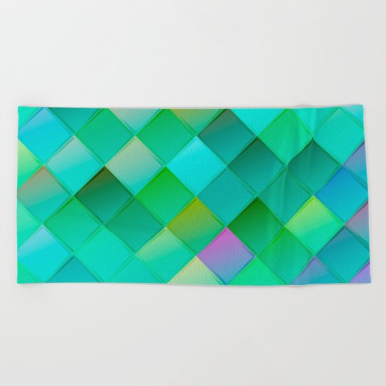Green pattern with squares.Trendy print. Modern graphic design. Beach Towel