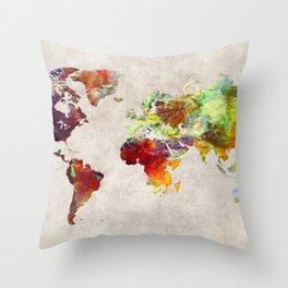 World Map 62 Throw Pillow