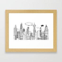 Gotham City Skyline Framed Art Print
