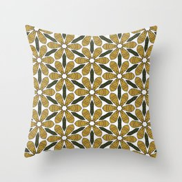 Hand Drawn Yellow Flower & Green Leaves Pattern Throw Pillow