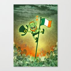 Leprechaun Singing on an Irish Flag Pole Canvas Print
