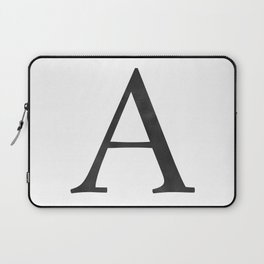 Letter A Initial Monogram Black and White Laptop Sleeve