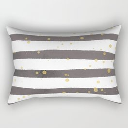 Modern gray yellow white watercolor splatters stripes Rectangular Pillow