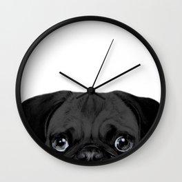 Black Pug, Original painting by miart Wall Clock