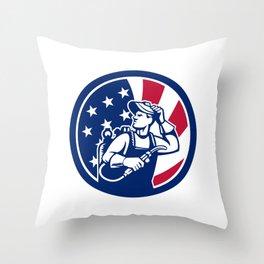 American Lit Operator USA Flag Icon Throw Pillow